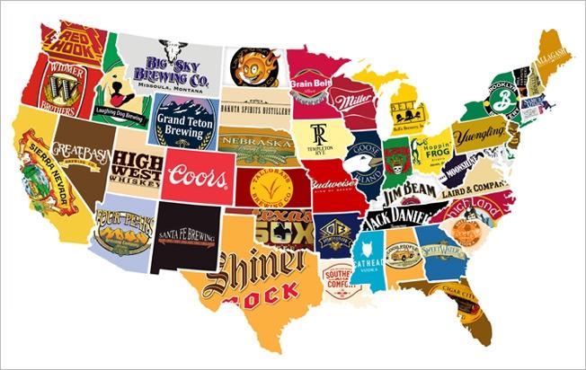 Карта пивных брендов США - инфографика