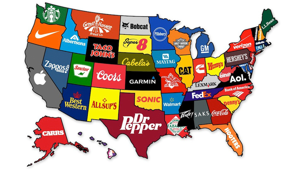 Карта брендов США - инфографика