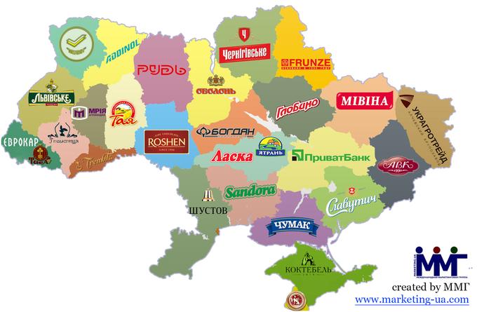 Карта брендов Украины - инфографика