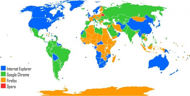 Популярность браузеров. Карта