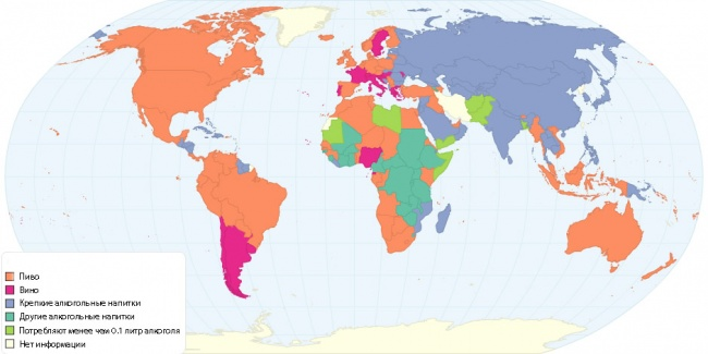 Популярные алкогольные напитки. Карта