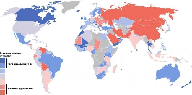 Уровень отношение к туристам. Карта