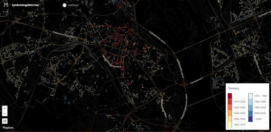 Визуализация: Здания Киева по дате сооружения (карта)